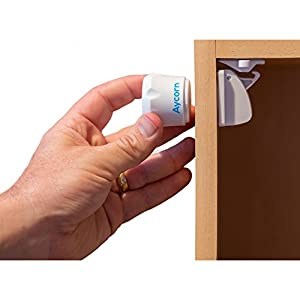 AYCORN Best Child & Baby Safety Proof Magnetic Cupboard Locks, 10 locks & 2 Keys, Easy Install in Seconds, BONUS Instruction Video, Latest Design to Protect your Kids & Toddlers, No Screws or Drilling