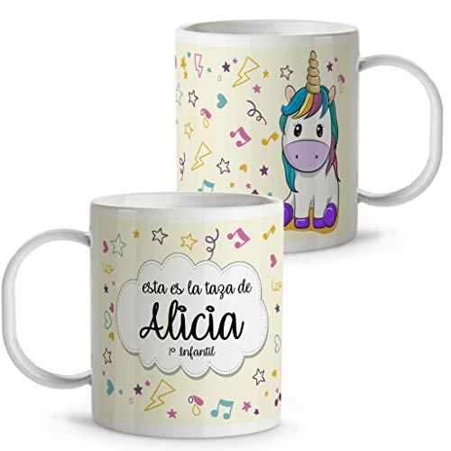 Lolapix Taza Unicornio Infantil niños y niñas Personalizada con Nombre | Vuelta al Cole | Plástico | Varios Diseños a Elegir