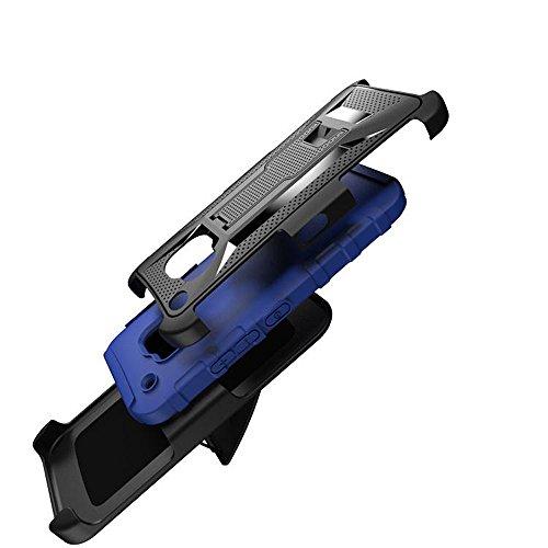 HTC M9cas, meaci (TM) Étui pour téléphone pour HTC M9Combo hybride 3en 1Defender ArmorBox Coque rigide en plastique et bumper en silicone souple avec clip rotatif avec béquille Bleu