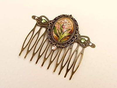 Peigne à cheveux avec motif orchidée en bronze rose vert