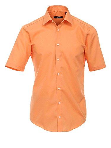 Venti Hemd Orange Uni Kurzarm Slim Fit Tailliert Kentkragen 100 Feinste  Baumwolle Popeline Bügelfrei Orange c067d1a64a