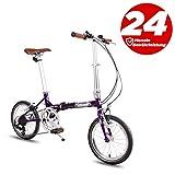 P-Bike Klapprad Fahrrad Faltbares - 7 Gank Kompakt Fahrrad (Mauve)