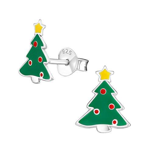 Monkimau 925 Silber Tannenbaum Weihnachts-Baum Ohrringe Kinder-Schmuck Kinder-Ohrstecker Damen Frauen Mädchen-Ohrstecker Mitbringsel