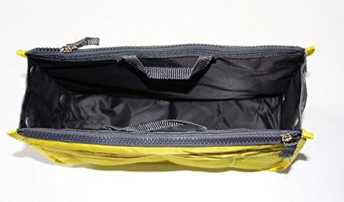Feikai Erweiterbare Dual-Handtaschen Einsatz Große Geldbeutel Verfassungs-Organisator-Beutel Aufgeräumt Ordentlich kosmetische Speicher-Kulturreisetasche mit Griffen für Draussen Sportreisen Gelb