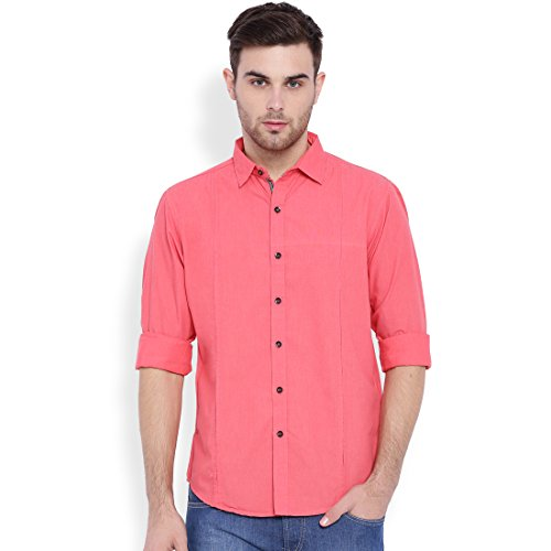 Sulpher Men's Solid Casual Pink Shirt (SLCSH10045-M)