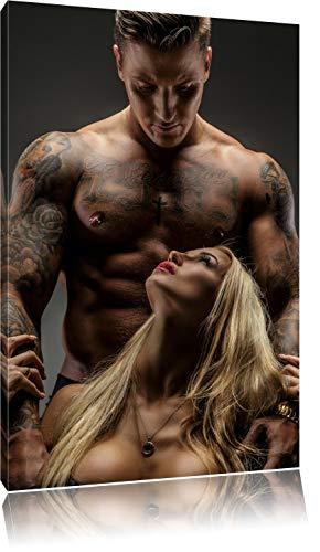 Sexy Frau mit tätowiertem Mann, Format: 120x80 auf Leinwand, XXL riesige Bilder fertig gerahmt mit Keilrahmen, Kunstdruck auf Wandbild mit Rahmen, günstiger als Gemälde oder Ölbild, kein Poster oder Plakat