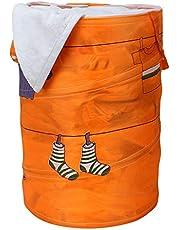 HOUSE OF WAX® Multipurpose Polyester Blend Foldable & Collapsible Laundry Bag Basket Waterproof, Foldable, Collapsible Cotton Fabric Laundry Bag Hamper Washing Bin - Household Organizer - Orange