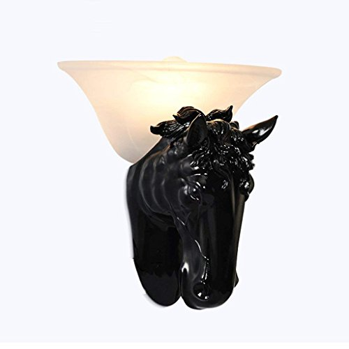 HBA Wandleuchte im Europäischen Stil Pferd Kopflampe moderne Persönlichkeit Hotel Gang Treppe Schlafzimmer Nachttischlampe American Beleuchtung (Farbe: Schwarz)