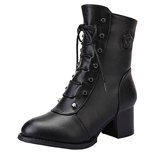 Dayiss Damen Kurzschaft Stiefel High Heeled gefüttert Stiefeletten Bootie mit seitlichem Reißverschluss Combat Boots Winterschuhe Schwarz