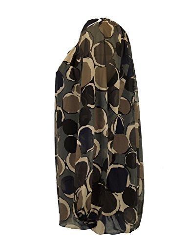 Moda Italia Damen Bluse Aus Chiffon in Carmen Style mit Polka Dots Tupfen Elegante Pump Ballonbluse Mehrfarbig 40 42 44 Marine-Mehrfarbig