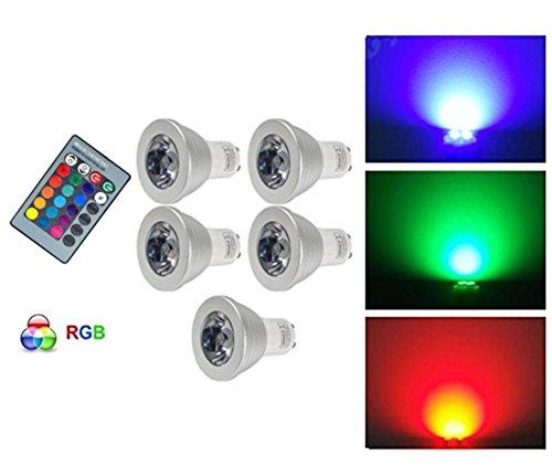 G-Anica Lot de 5 GU10 RGB Ampoule LED 3W 16 Couleurs Changement RGB LED Bulb 250-270LM LED avec Télécommande à Boutons AC95-240V [Classe énergétique A+]