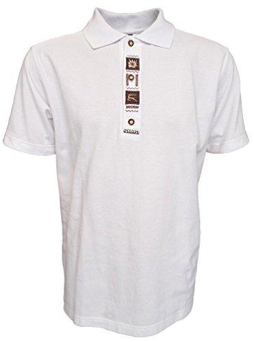 Trachten Poloshirt weiß mit und brauner Stickerei, Größe:L