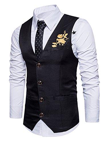 YCHENG Herren 4 Knopf Anzugweste mit V-Ausschnitt Hochzeit Super Qualität Schwarz