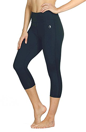 icyzone 3/4 Sport Leggings Damen Sporthose Laufhose - Hohe Taille Training Tights Yoga Hosen Capri (XL, Blueberry) -