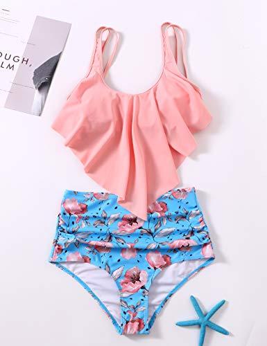 DaiLiWei Badeanzüge für Damen, hohe Taille, Badeanzug, Flounce Bikini Sets Print Tankinis - - Small - 4
