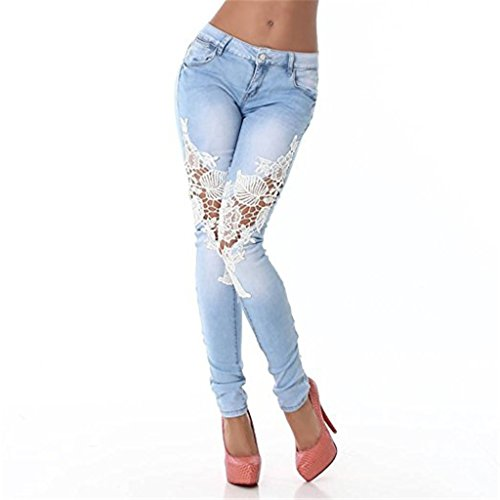 DCTC New Women's Sexy Jeans Slim Denim Pants & Hollow-Out Lace Blue