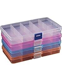 Duofire 4 Packungen(4 Farben) Plastik Aufbewahrungsbox(15 Raster) Schmuckschatulle Werkzeugcontainer