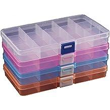 DuoFire 4 Paquetes (4 Colores) Ajustable Caja de Almacenamiento de Plástico (15 Compartimientos) Joyería Organizador Contenedor de Herramientas