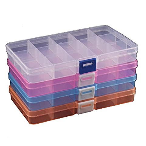 Duofire Adjustable Plastic Storage Box 15 Compartments Organiser Jewelry Earring Tool Containers (4 Packs, 4