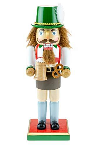 Clever Creations - Traditioneller Nussknacker - Bayerisches Design mit Lederhose & Bierhumpen - Weihnachtsdeko für Sammler - perfekt für Regale & Tische - 100% Holz - 25,4 cm