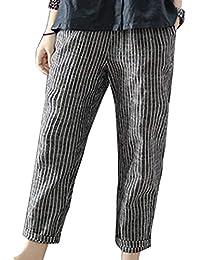 Vepodrau Pantalones Holgados De Algodón Y Lino A Rayas con Cintura Elástica para  Mujer f27e3550bb5a