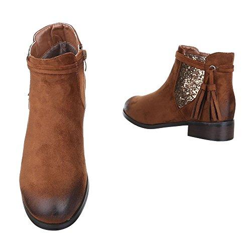Ital-Design , Bottes Chelsea femme Camel