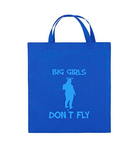 Comedy Bags - BIG GIRLS DON'T FLY - Jutebeutel - kurze Henkel - 38x42cm - Farbe: Schwarz / Silber Royalblau / Blau