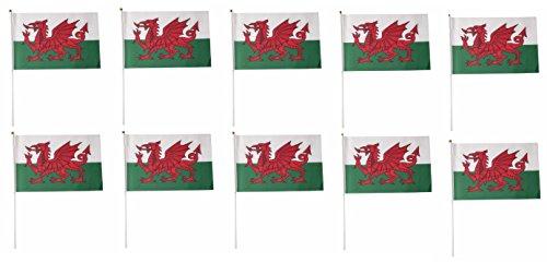 Tanto Flags Paquete DE 10 Banderas de Gales con dragón galés de Mano