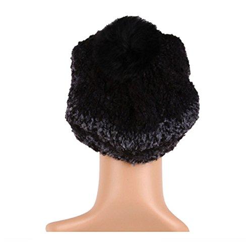 Hiver Coréen Laine Béret Main Tricoté Chaud Bonnet De Laine Black