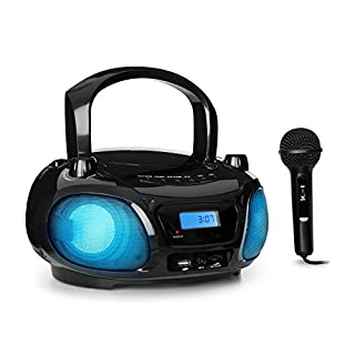 auna Roadie Sing ( Karaoke Player, CD-MP3, Boombox, Stereoanlage,USB-Port, UKW Radio, Bluetooth 3.0, Sing-A-Long Funktion, Netz- und Batterie-Betrieb,LED-Beleuchtung, Mikrofon) schwarz
