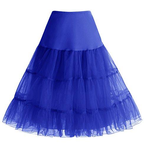 Homrain 1950 Petticoat Vintage Retro Unterrock Reifrock Underskirt für Rockabilly Kleid Royalblue L