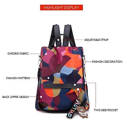 MOCA Women's Nylon Mini Small Anti-Theft Rucksack Travel Backpack (Multicolour) Image 6