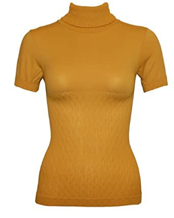 Fine Brand Shop Mustard Yellow Seamless Short Sleeve Turtleneck Top Diamond Pattern