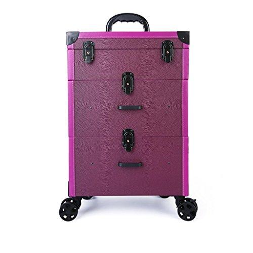 Trois étages Tiroir Type Trolley Cosmétique Cas PU Beauté Tatouage Outil Trolley Case Manucure Kit (Couleur : Purple Lychee Pattern)
