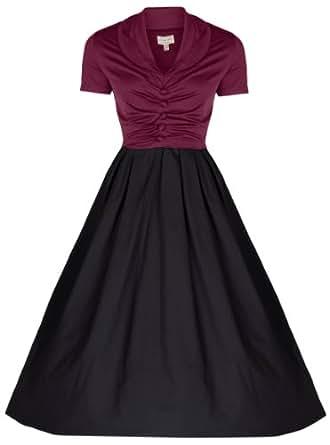 Lindy Bop 'Elsa' 1950's Robe Vintage, Party Evening Dress (38, Bourgogne et noir)