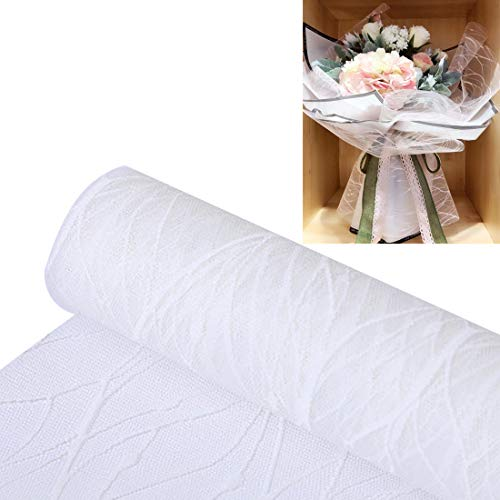 FineInno Geschenkpapier Rolle Flower Wrapping Paper Tüten Satinband Lace Floral Packaging Ribbon Schleifenband Dekoband, Zum Geburtstag, Hochzeit,Bouquet Geschenkverpackung,50cm,5 Yard (1 stück weiß)