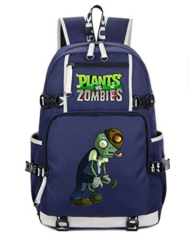 Cosstars Plants vs. Zombies Game School Backpack Student Backpack School Bag Laptop Backpack Blue-1