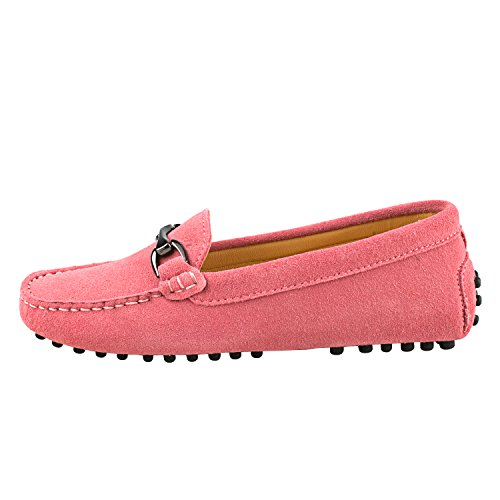 Shenduo Classic, Mocassins femme daim - Loafers multicolore - Chaussures bateau & de ville confort D7062 Rose