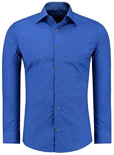 Jeel Langarm Herren Hemd Business Freizeit Hochzeit Slim Fit Tailliert 205 - Sax XL (Männer-hemd Royal Blau)