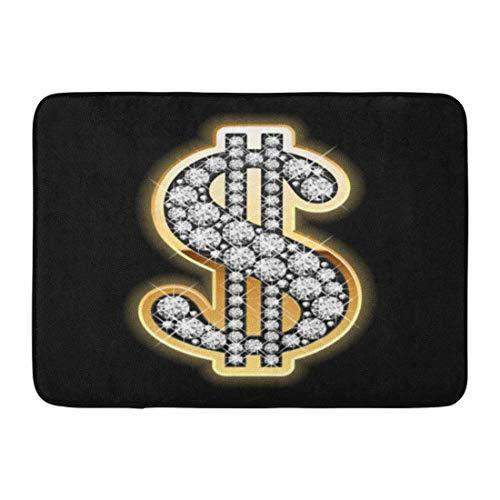 LIS HOME Fußmatten Bad Teppiche Outdoor/Indoor Fußmatte Zeichen Bling Dollar Symbol in Diamanten Gold Blink Jewel Wohlhabendes Geld Badezimmer Dekor Teppich Badematte