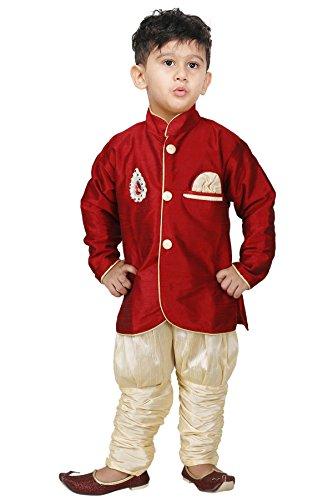 JBN Creation Baby Boys Cotton Silk Indo Western with Jodhpuri Breeches (VASBSW035_20_Maroon_18-24...