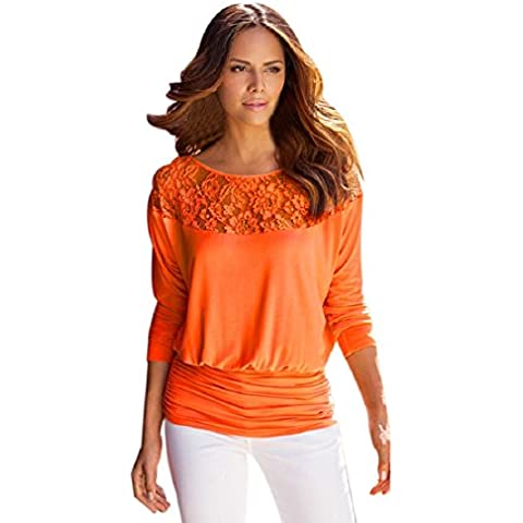 OverDose Las mujeres del cordón de manga larga de la camiseta de la blusa floja ocasional Tops Camisa