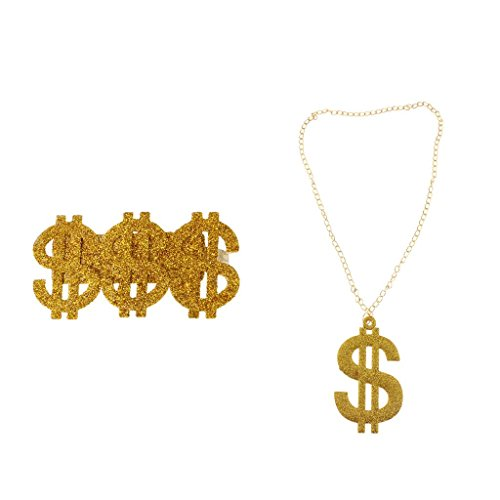 Gazechimp 1pc Anillo para Partido Grande 3 Símbolo de Dólar Estilo Hip Hop+1pc Brillo Bling USD Dólar Colgante Hip Hop