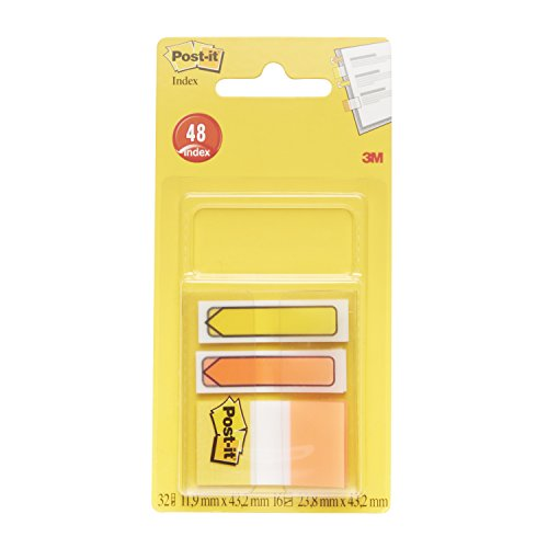 Post-it Index - Pack de 16 marcadores de 1 pulgada, colores amarillo y naranja, y 2 x 16 flechas, colores amarillo y naranja