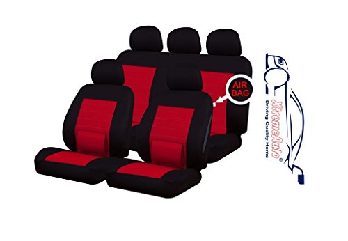 XtremeAuto® ss5295.type15 Universal Fit Camden Full Set Of Red / Black Car Seat Covers Type 15 + Xtremeauto Sticker