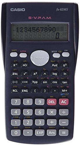 CASIO FX-82MS wissenschaftlicher Taschenrechner / Schulrechner zweizeilig mit 240 Funktionen, Batteriebetrieb,farbe dunkelgrau