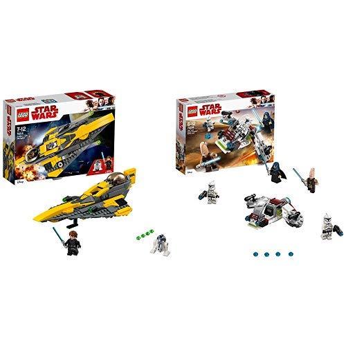 LEGO Star Wars Anakin's Jedi Starfighter (75214), Star Wars Spielzeug &  Star Wars Jedi und Clone Troopers Battle Pack 75206 Star Wars Spielzeug (Star Wars Clone Spielzeug)
