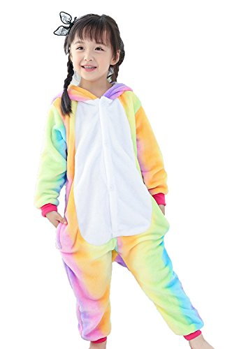 (Pyjamas Kinder Kostüm Jumpsuit Tier Schlafanzug Cosplay Karneval Fasching (XXL: für Höhe 135-144 cm, Regenbogen gelb))