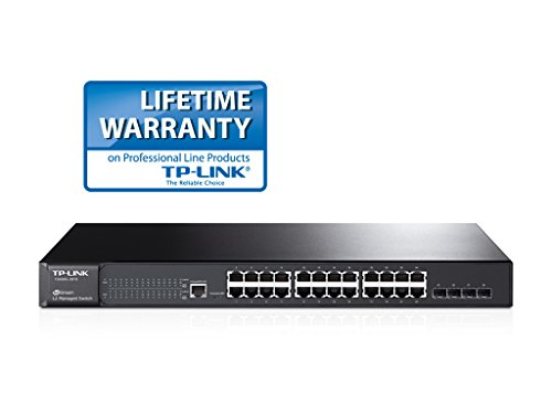 TP-LINK T2600G-28TS (TL-SG3424) JetStream 24 Port Gigabit L2 Managed Switch with 4 SFP Slots (24 x 10/100/1000 Mbps RJ45 Port, L2/L2+ Feature, L2/L3/L4 QoS, IGMP Snooping V1/V2/V3, Support IPv6)