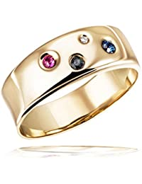 Goldmaid Women's Ring Colour Feeling Yellow Gold one Ruby two Sapphire and one Diamond 9ct